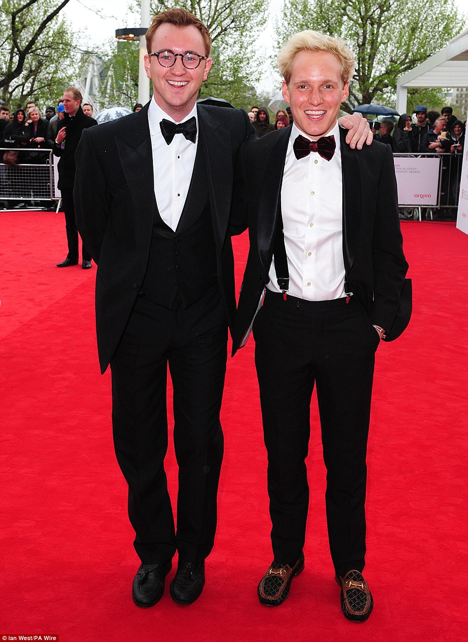Chelsea boys: Reality stars Francis Boulle (left) and Jamie Laing looked pretty dashing in their finery ahead of the awards ceremony in London