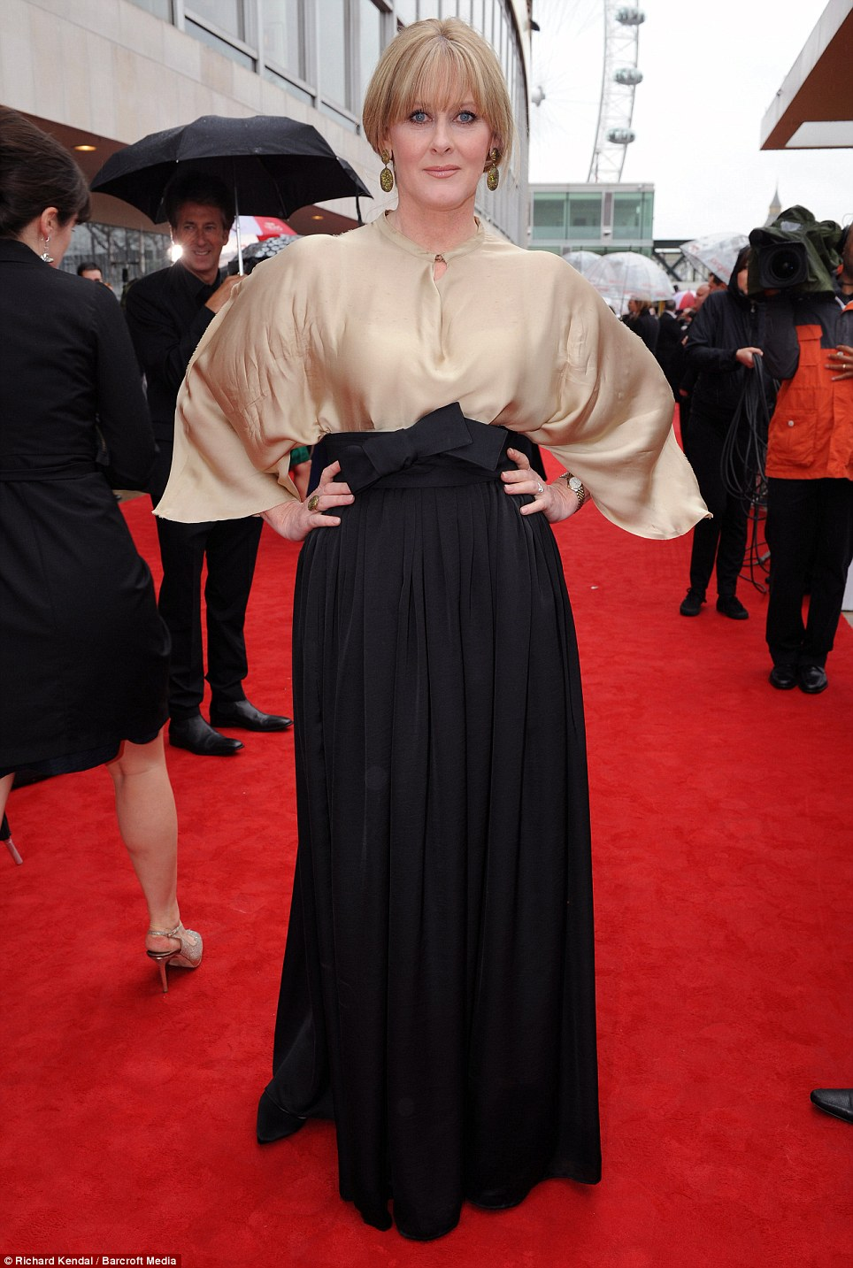 Something different: Actress Sarah Lancashire kept to the nude trend, but her outfit was a bit different from most