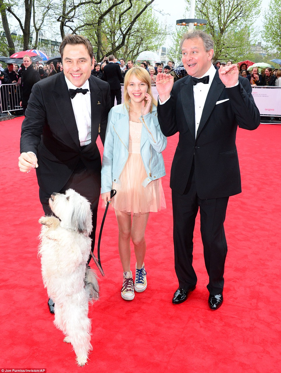 Got Talent: David Walliams, Pudsey and Hugh Bonneville larked around on the red carpet ahead of the BAFTA TV awards