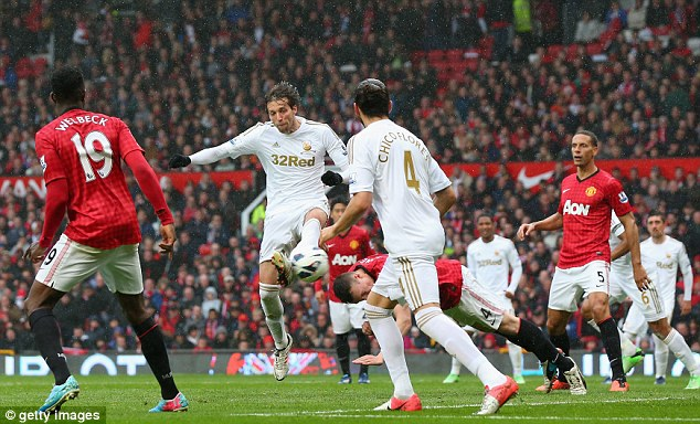 Tight: Michu made the game interesting after scoring an equaliser in the second half