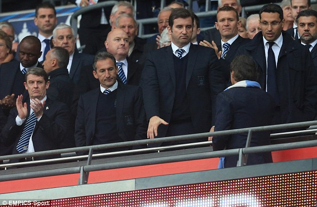 Big wigs: City chief executive Ferran Soriano (centre), chairman Khaldoon Al Mubarak (right) and Txiki Begiristain