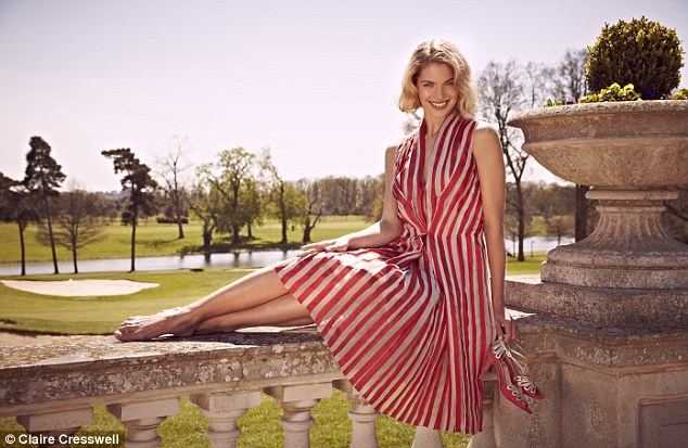 Striped chiffon dress, £1,635, Todd Lynn at avenue32.com; Red and gold sandals, £230, emmyshoes.co.uk