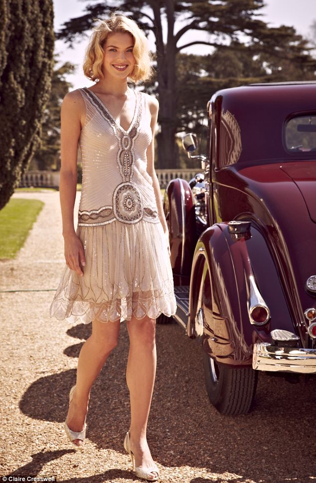 Sequin flapper dress, £325, jigsawonline.com; Gold sparkly peep-toes, £198, lucychoilondon.com