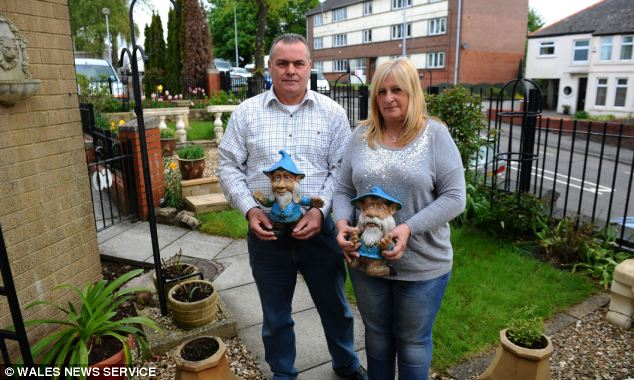 The Branas took pride in their garden ornaments. They said people often admire the gnomes and compliment their garden