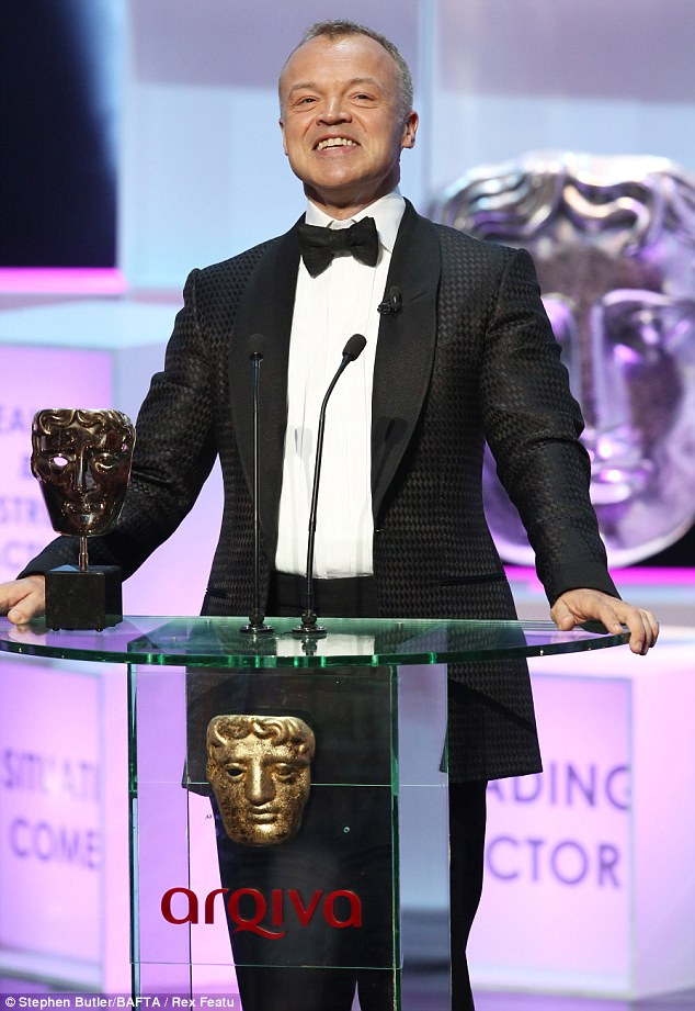 Host with the most: Graham Norton, who presented the whole ceremony, even won an award and looked delighted as he stayed on stage to be named Entertainment Programme