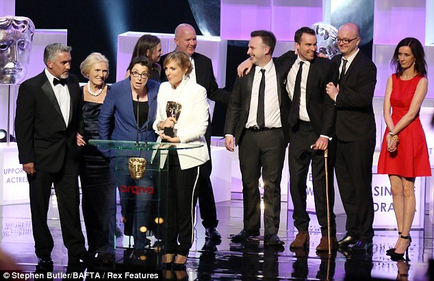 More winners: The Great British Bake Off won the Features award as the cast and crew headed on stage to say their thank yous