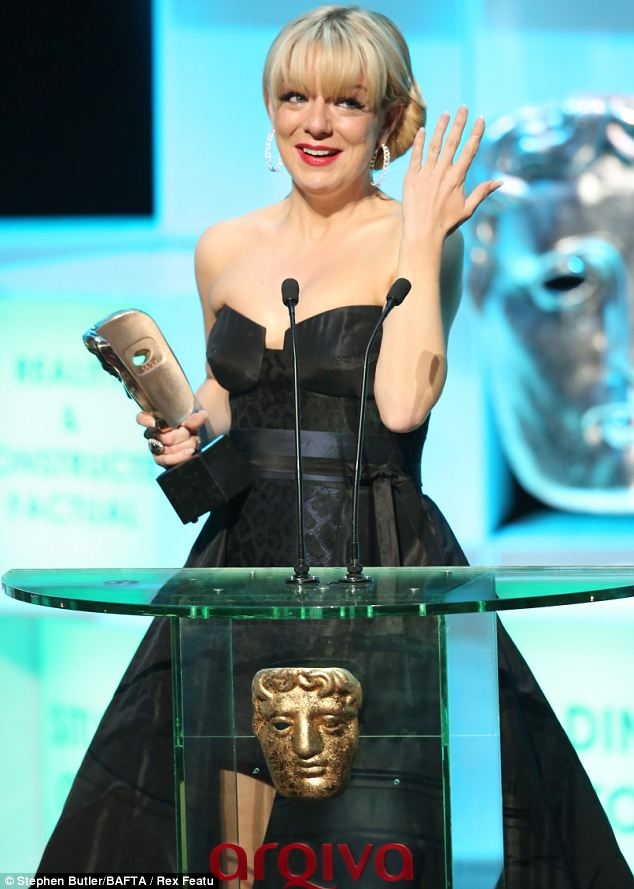 Emotional: Sheridan Smith cried as she picked up the award for Leading Actress at the TV Baftas on Sunday evening