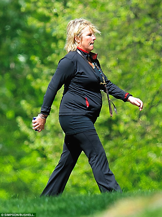 Pre-training: The Ab Fab star had taken to the parks in the weeks running up to the moonwalk to trained up for the event