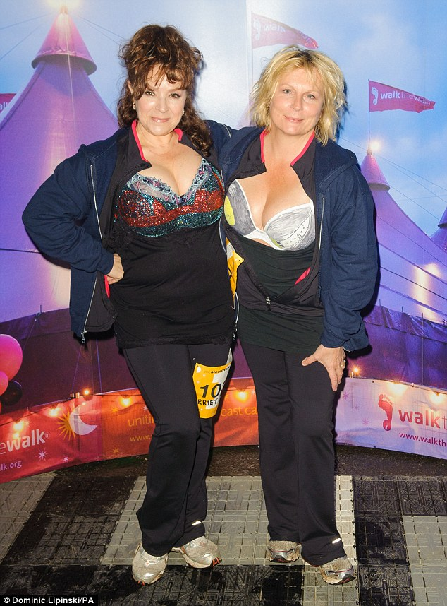 Extra support: The Ab Fab star was joined by friend and colleague Harriet Thorpe as they got ready to depart from Battersea Power Station