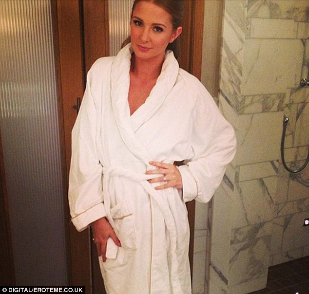 Behind the scenes: Millie Mackintosh donned a fluffy towel as she was pampered at the Corinthia hotel