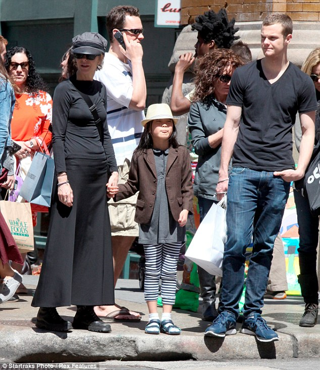 Three's company: Meg Ryan spent Mothering Sunday with her son Jack Quaid and daughter Daisy True in New York