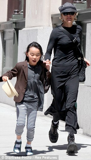 Youthful exuberance: Daisy True led her mother down the streets at a rather quick pace