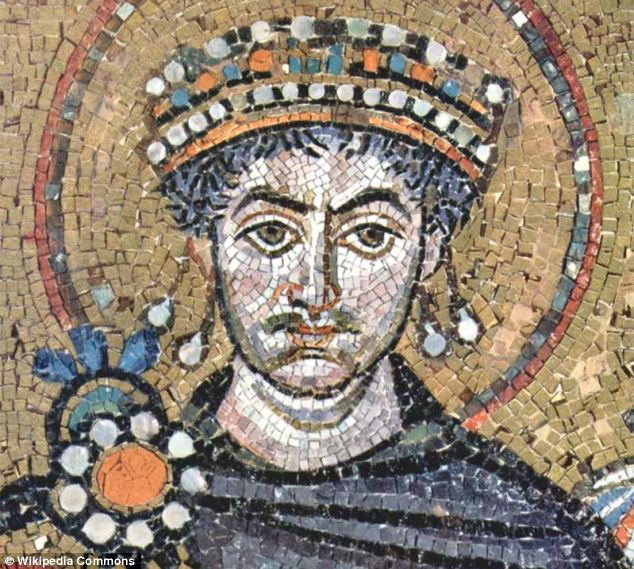 Detail of a mosaic from San Vitale Cathedral in Ravenna, Italy, showing Byzantine Emperor Justinian the Great