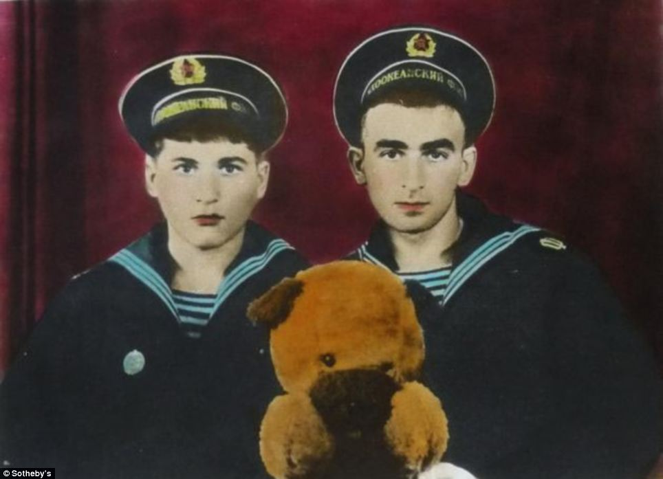 Artist Boris Mikhailov retouched this photo of two sailors with a toy bear in a series created from 1971-1985 which is estimated to sell for £5,000-£7,000