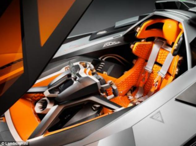 The car's 'cockpit' is covered by a mechanically operated orange shield. The shield has anti-glare glass and is made of antiradar material. The driver's four-point seatbelt is made up of different colours