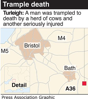 Map: The incident happened as the trio were walking on a well-known path which leads from Turleigh to a crossing over the River Avon canal