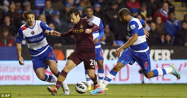 Lively showing: David Silva starred at Reading in Manchester City's midfield