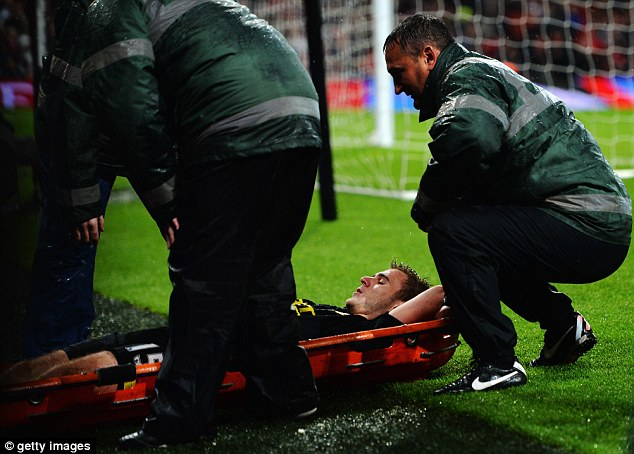 Early end: Wigan's Callum McManaman was brought off the field on a stretcher