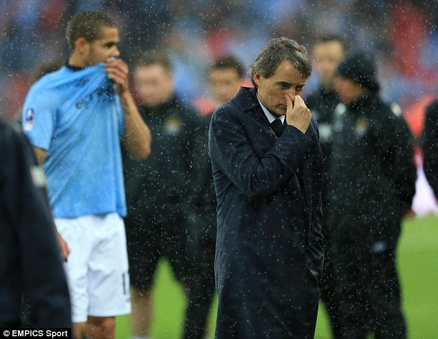 Final straw: Manchester City manager Roberto Mancini was sacked after losing the FA Cup final to Wigan