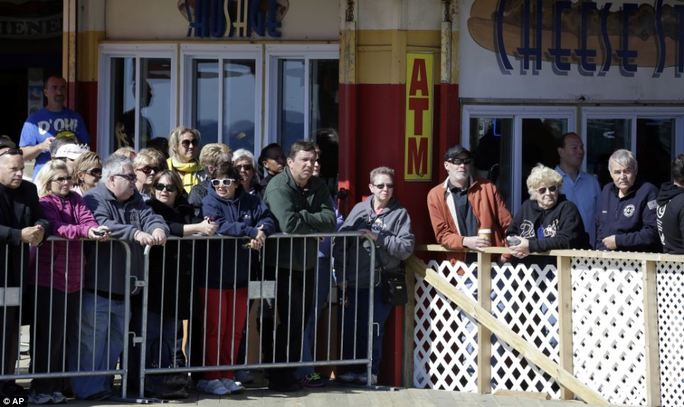 Anticipation: People wait to catch a glimpse of Prince Harry in Seaside Heights, New Jersey on Tuesday
