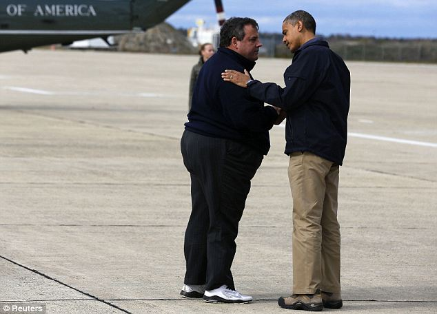 Done this before: Christie showed President Obama around the effected areas just days after the hurricane