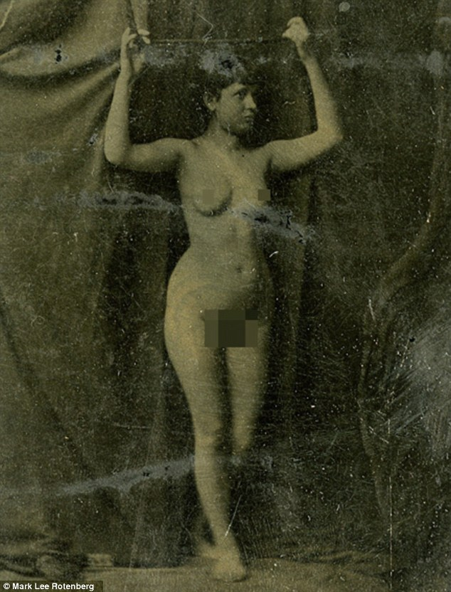 Vintage pin-ups: Long before mainstream photographic film was pioneered by George Eastman, women have been used in erotic-themed images - since as early as 1860 (pictured)