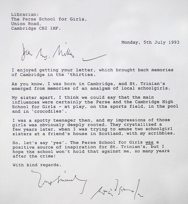 Confirmation: This letter from Ronald Searle confirms that the Perse School was the inspiration for the St Trinian's films