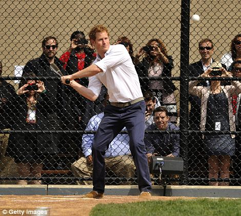 Confident: Harry took part in the baseball session as part of Project Coach, which gives community mentoring