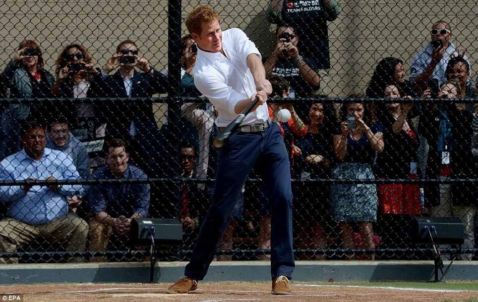 Thirds the charm: Prince Harry would have knocked his last ball out of the park if not for a safety net