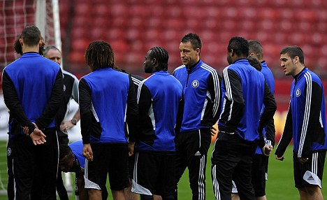Gearing up: Chelsea train on Tuesday ahead of the Europa League final