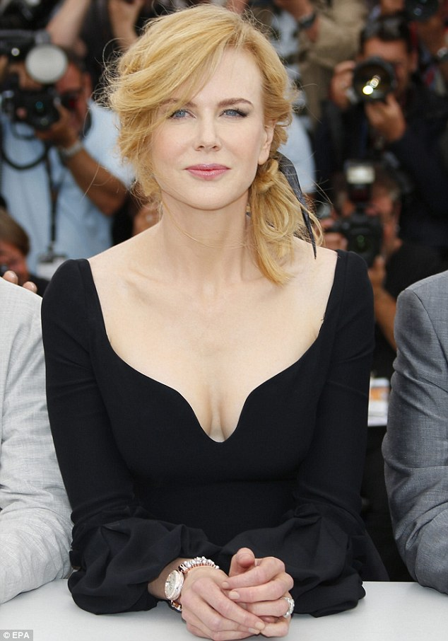 Taking the plunge: Nicole Kidman wore a low-cut LBD to a photo-call at the 66th annual Cannes Film Festival in France on Wednesday