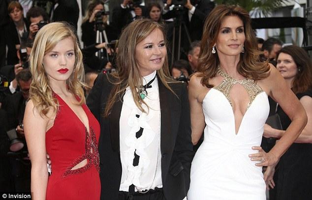 Power trio: Georgia May Jagger, fashion designer Eva Cavalli and Cindy posed together for the cameras