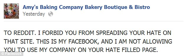 Rage: The owners of Amy's Baking Company Bakery Boutique & Bistro respond to their 'haters' on Facebook after the episode of Kitchen Nightmares aired