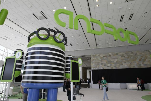 An Android display at the Google I/O conference in San Francisco, where Google is preparing to reveal its latest gadgets