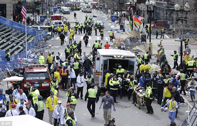 Atrocity: The bombs at the finish line of the Boston Marathon last month killed three people and injured 260