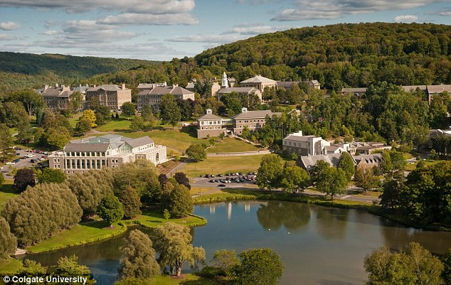 College: He then studied at Colgate University, pictured, in Hamilton, New York, where he was in a fraternity