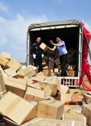 Police destroy the counterfeit goods
