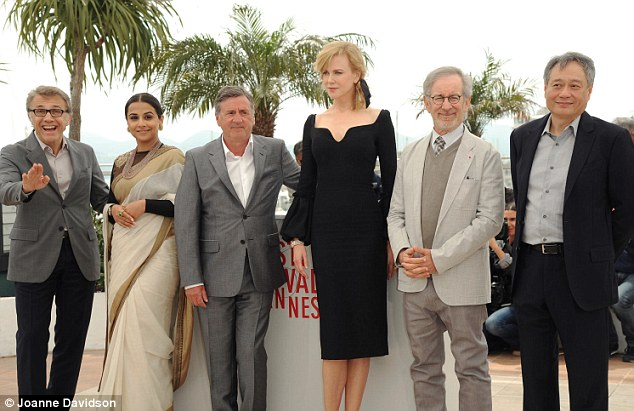 Towering: Nicole towered over fellow jury members Christoph Waltz, Vidya Balan, Daniel Auteuil, Speilberg, and Ang Lee as they posed for pictures