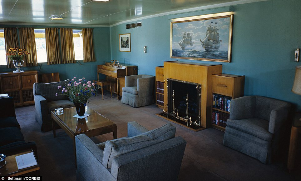 Luxury: The President's private lounge on board the ship, which was decommissioned in 1953 by Dwight Eisenhower