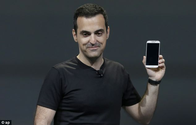 Hugo Barra, vice president, Android Product Management at Google, holds a Samsung Galaxy S4 'Google Edition'