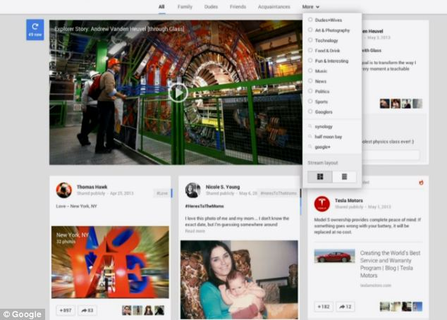 Google's new look for its Google+ social network, with more emphasis on photos