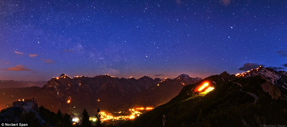 Radiant: The summer solstice fire festival is seen over Tyrol in Austria