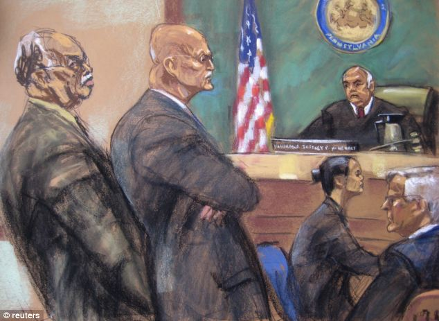 In court: A sketch shows Gosnell during his sentencing at Philadelphia Common Pleas Court