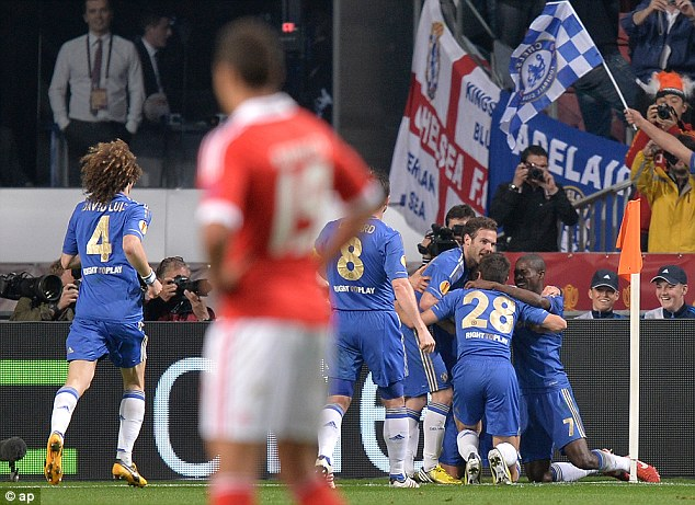 Delight: Chelsea won the Europa League with a 2-1 win over Benfica in the final in Amsterdam