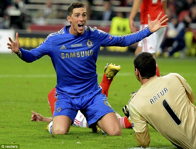 No luck: Torres appeals for a penalty, but his shout was turned down by the referee