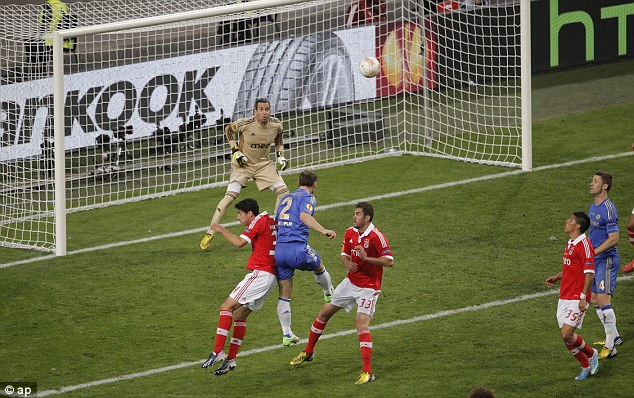 Late but great: Ivanovic's looping header back across goal provided a dramatic finale in Amsterdam