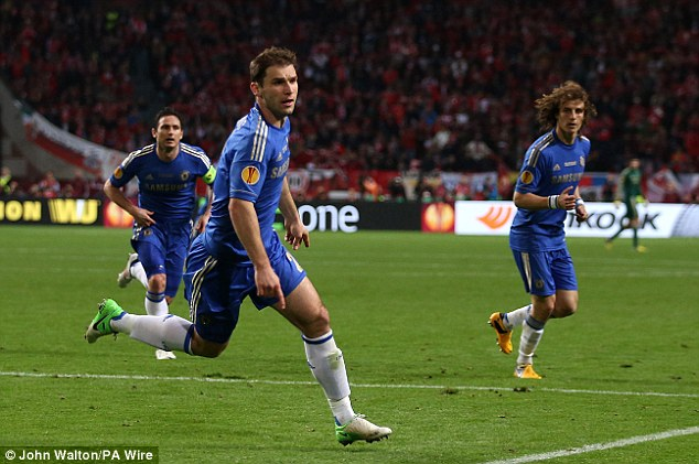 Hero: Branislav Ivanovic's header in injury time sealed a 2-1 win and European glory for Chelsea