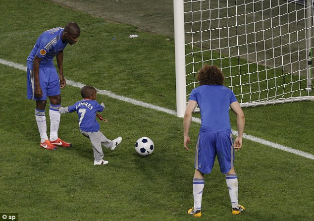 Following in the footsteps: Ramires' son scores a goal during Chelsea's victory lap