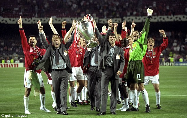 Standing out: Scholes and Keane were both suspended for the 1999 final, but appeared in suits