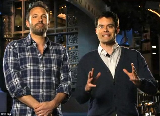 Trying his patience: Bill Hader wanted to know how Ben Affleck dreamed up the Argo storyline in an hilarious new SNL promo